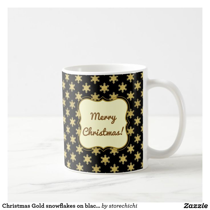 Christmas Gold snowflakes on black background