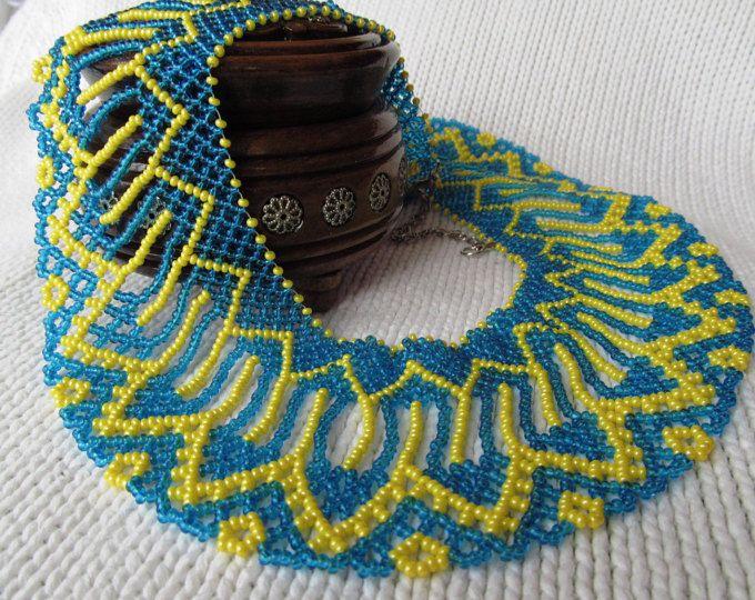 Semilla de collar tradicional ucraniana del grano grano ucraniano collar collar amarillo azul con cuentas Collar perla collar Collar