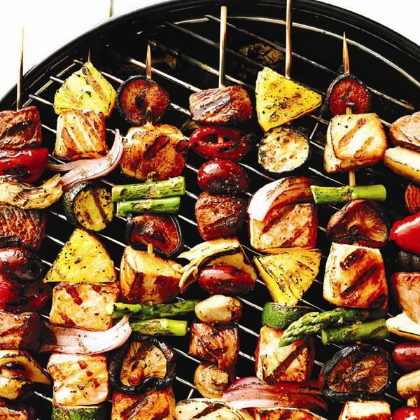 Chicken, Shiitake and Asparagus Skewers with Sweet Chili Sauce
