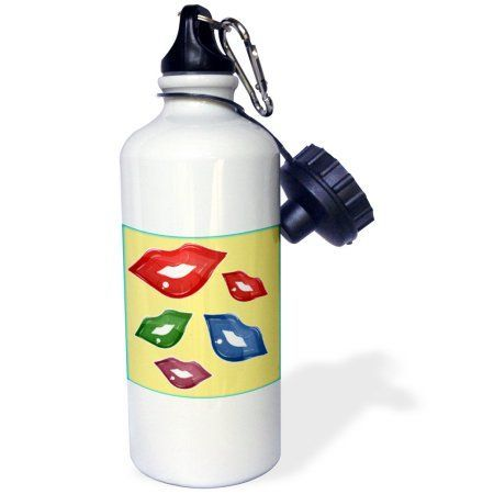 3dRose Red, Green, Blue, and Purple Lips, Sports Water Bottle, 21oz