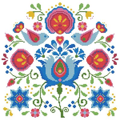 Free cross stitch pattern, Spring birds and flowers