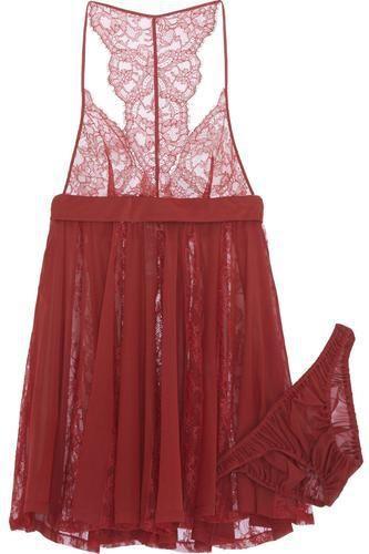Tearose stretch-lace and chiffon lingerie set #underwear #women #covetme #laperla #aff