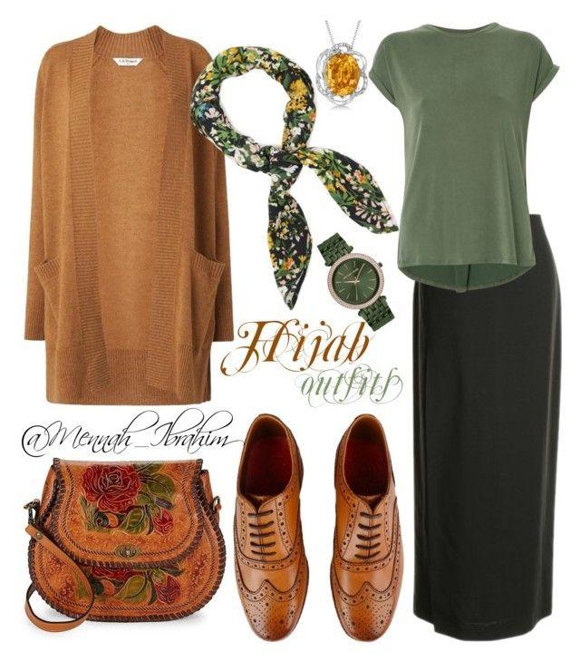 """#Hijab_outfits #modesty #Green #Caramel"" by mennah-ibrahim on Polyvore featuring L.K.Bennett, St.Emile, Uma | Raquel Davidowicz, Patricia Nash, Grenson, Michael Kors, Allurez and Warehouse"