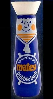 1970s Matey Bubble Bath Why did Matey have to change the old version of this bubble bath? Fab bottle and it used to make your bath water blue - bring it back!