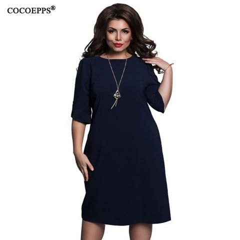 8b2093b7cfd93 COCOEPPS fashionable loose women dresses big sizes NEW 2018 plus size women  clothing half sleeve vestidos casual o-neck dress