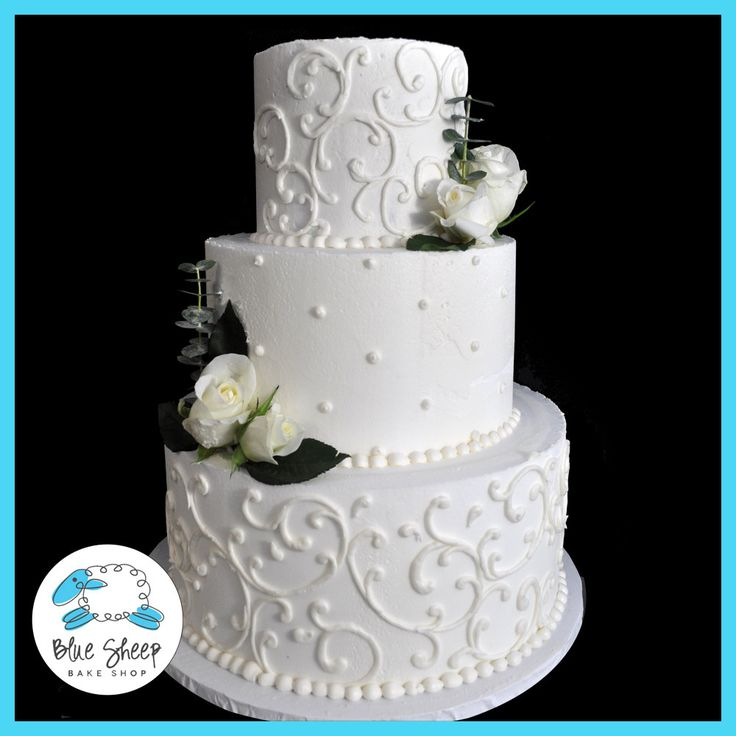 Filigree Buttercream Wedding Cake With Roses – Blue Sheep Bake Shop
