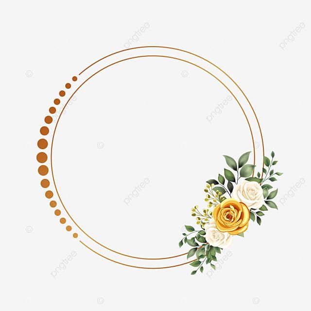 إطار الدائرة مع تصميم زهرة الذهب حفل زواج دعوة زفاف ذهب Png وملف Psd للتحميل مجانا In 2021 Clip Art Frames Borders Flower Frame Watercolor Flowers Pattern