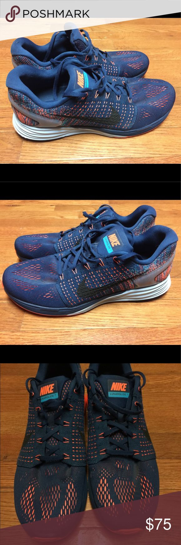 Nike Lunarglide 7 Running Shoes Like NEW! Worn ONCE! BRAVE BLUE/BLACK/BLUE LAGOON   Item# 747355 404 / MSRP: $159.99  World's #17 bestNikerunning shoe. Provides a comfortable, breathable experience without irritation, so you can focus on your running goals and not on your shoes.  FEATURES: UPPER: Flyknit, engineered mesh and Flywire cables / MIDSOLE: Lunarlon cushioning, TPU heel counter / OUTSOLE: Rubber with traction pattern Nike Shoes Athletic Shoes