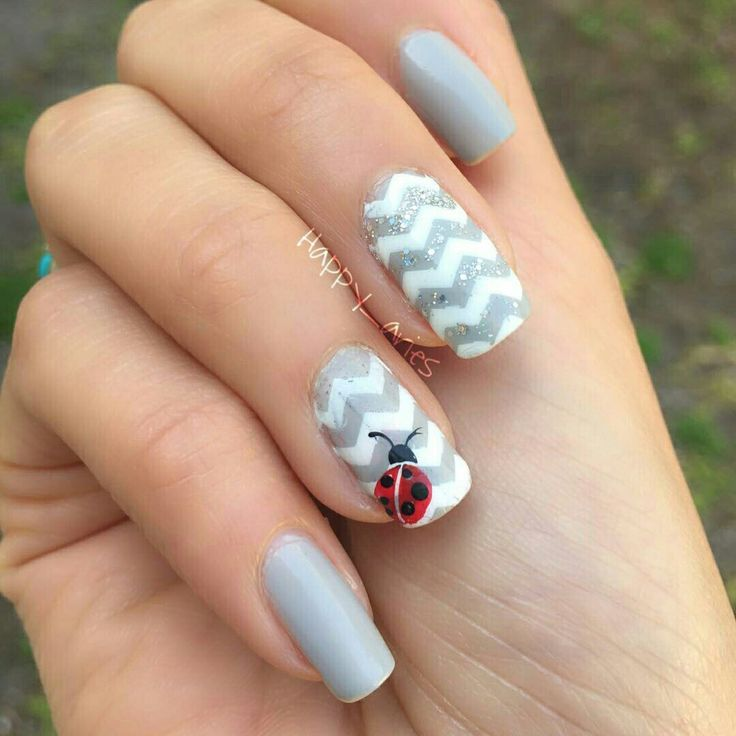 Grey nails ladybug nails zigzag nails