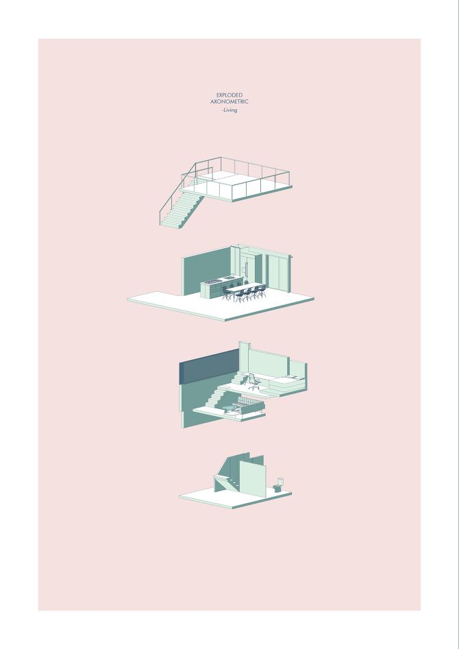 Zoe Ella. Victoria University, Wellington NZ.  http://cargocollective.com/zoeella   Axonometric | Illustration | Mixed Media | Infill House | Architecture | VUW | ARCI212