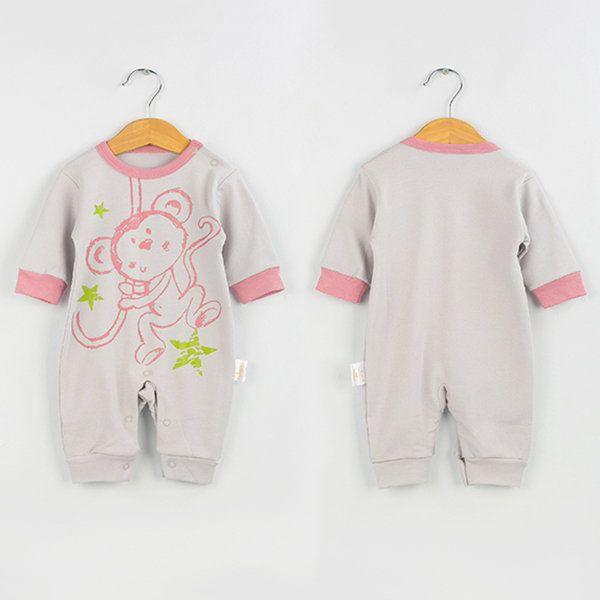 TUBENG Cute Baby Monkey Print Long Sleeve O-Neck Crawling Rompers