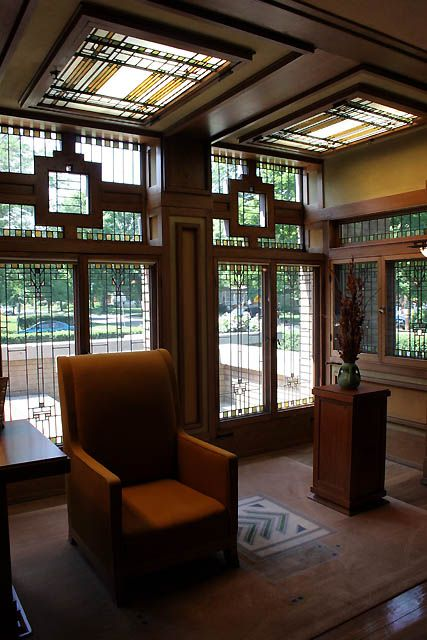 Frank Lloyd Wright's Meyer May House of Grand Rapids (1908).  (I sat in this chair, drinking a glass of wine, as a guest of Steelcase.  A beautiful house. KK) #GRMI