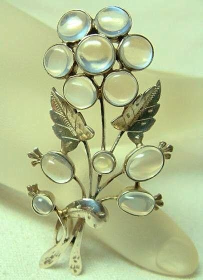 Fabulous Moonstone Flower Brooch White Peacock Jewels on Ruby Lane