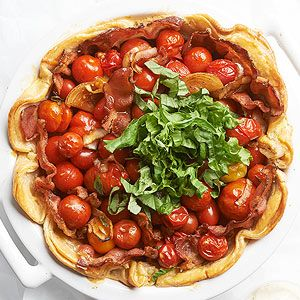 Cherry Tomato Pie When you have a really juicy filling like the one in this pie, try a double-crust base. Double-lining your pie dish forms an extra-sturdy shell, and it's especially delicious if you love the crust as much as the filling.