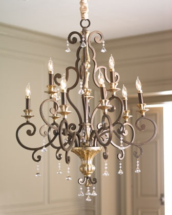 """Nine-Light """"Treviso"""" Chandelier at Horchow.  Romance the room with European flair with this stunning nine-light chandelier dressed with multifaceted crystal drops. Imported.•Made of steel.  •Rich bronze finish with antiqued silver highlights.  •Uses nine 60-watt bulbs.  •Ceiling canopy included.  •32""""Dia. x 41""""T with 8'L chain."""