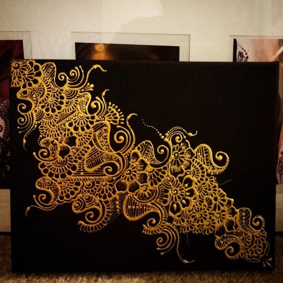 Henna Design - Painted Canvas - Metallic Gold on Black