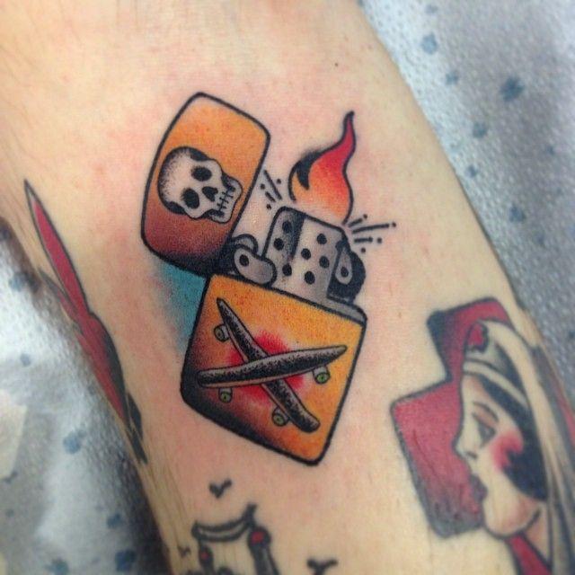 Zippo lighter tattoo art by Instagram user @ joeyanderson_tattoo