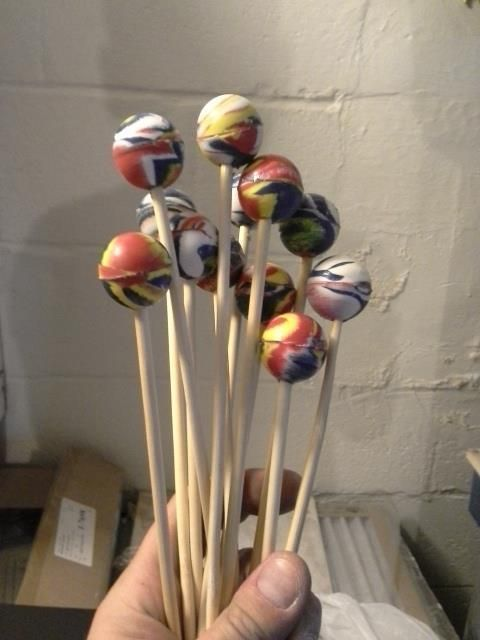Mallets made from superballs and bamboo skewers! Drilled holes in the balls, super glue and POOF! Instant mallets for CHEAP! Making these for mallet games without instruments!