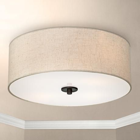 "Oh! Really like this flushmount kitchen light! Bronze with Off White Shade 18"" Wide Ceiling Light Fixture @lampsplus"