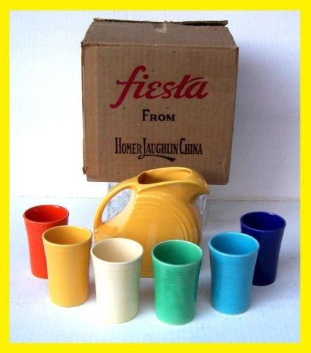 Vintage Fiesta Ware 7 Pc. Juice Set Pitcher U0026 Tumblers   Complete In Box    Cib