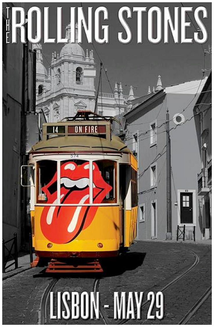☮ American Hippie Music Art ~ Concert poster .. The Rolling Stones 14 On Fire Tour