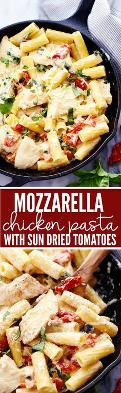 A quick and easy 30 minute meal with cheesy mozzarella chicken in a delicious and creamy sun dried tomato sauce over pasta!