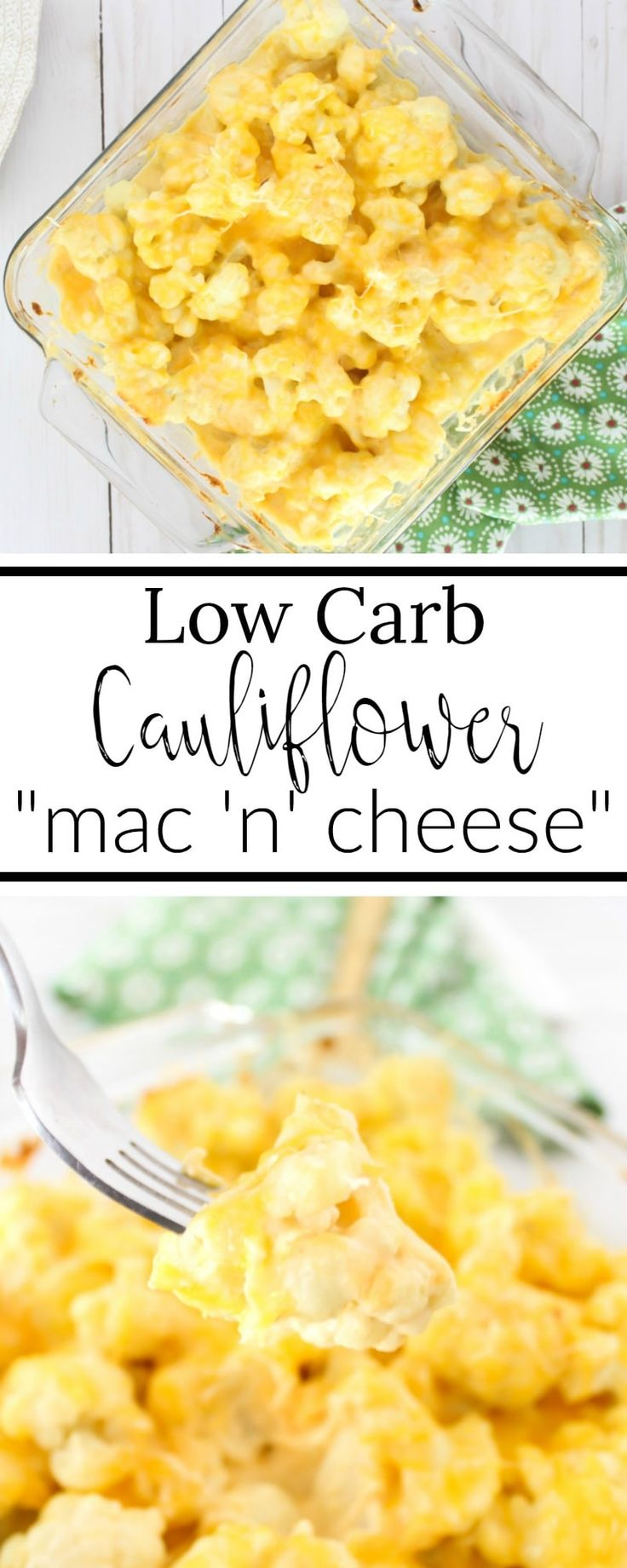 Loaded to the brim with gooey, cheesy goodness, this cheesy cauliflower casserole is the perfect low-carb and keto friendly macaroni and cheese substitute.