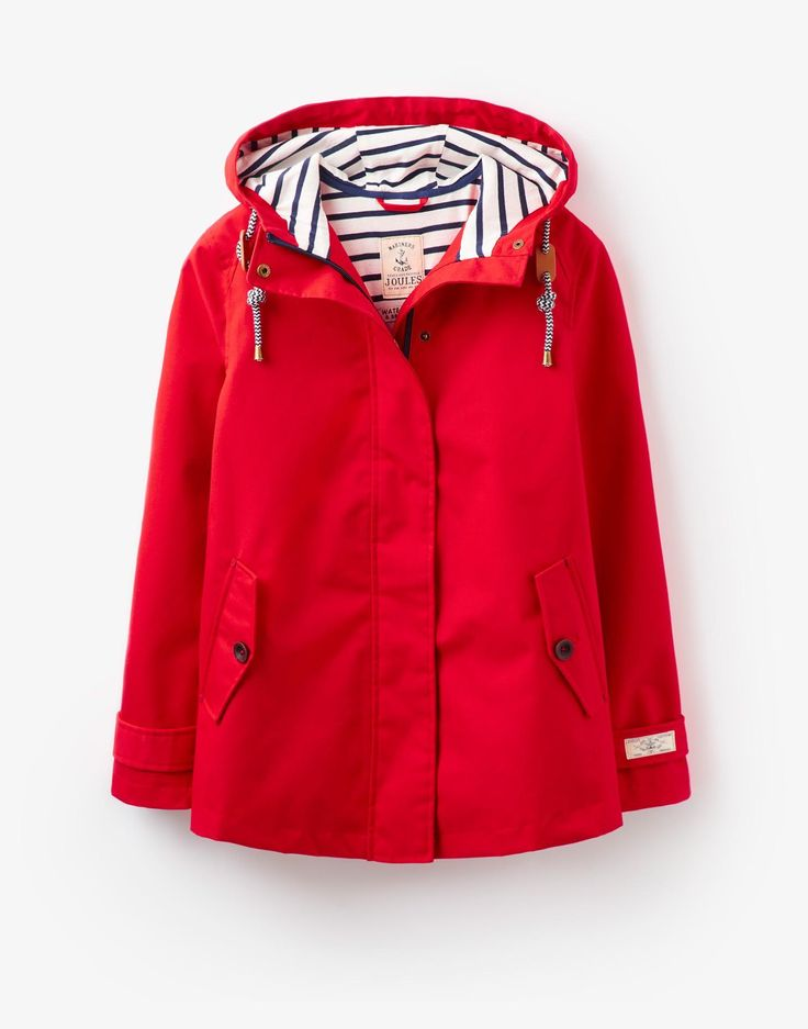 Coast Red Waterproof Hooded Jacket | Joules UK