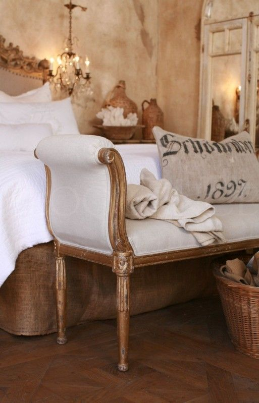 French Country Bedroom With Antique Bench Burlap Pillow