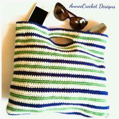Annoo's Crochet World: Summer Nautical Beach Bag Free Tutorial.  ☀CQ #crochet #bags #totes