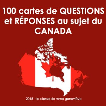 This is a 22 page pdf file with 100 questions and answers about Canada that you can cut out and laminate for years of fun use in your classroom. The Questions and answers are all in French and cover Canadian geography, history, sports, landmarks, animals, inventions, and more!