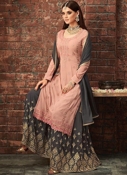 fc3ea4b62c3e Light Pink and Grey Embroidered Sharara Suit Buy Salwar Kameez Online, Latest  Salwar Kameez,