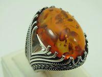 Turkish Handmade Ottoman Style 925 Sterling Silver Amber Stone Men's Ring Sz 11