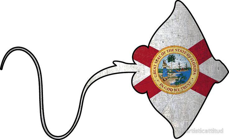 Florida flag stingray outline #Florida #flag #stingray #sticker  ArtisticAttitude.net