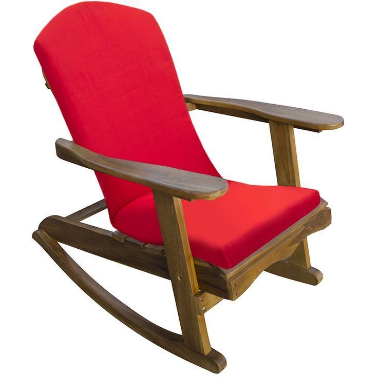 Trueshopping Chaise A Bascule Pour Jardin Adirondack En Teck Avec Coussin Rouge Rocking Chair Furniture Patio Furniture