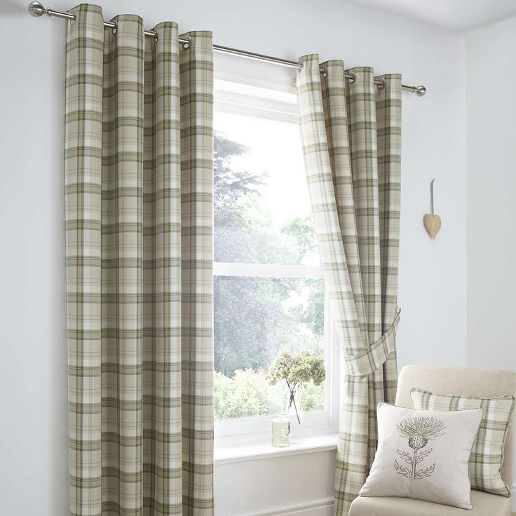 Balmoral Green Lined Eyelet Curtains | Dunelm