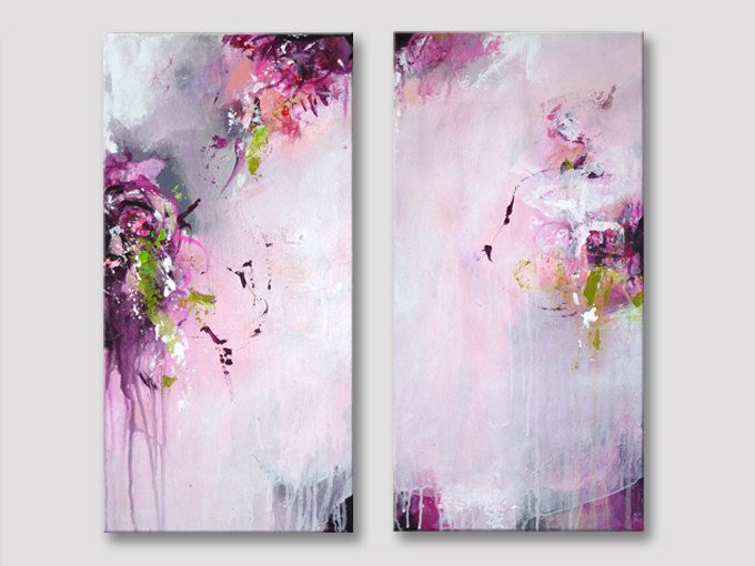 2 parts Original abstract painting, modern art, acrylic paintings, raspberry pink bordeaux lemon green white rose painting, A NEW PERFUME by ARTbyKirsten on Etsy