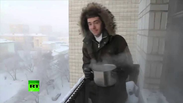 Boiling Water Turns Into Snow In Siberia