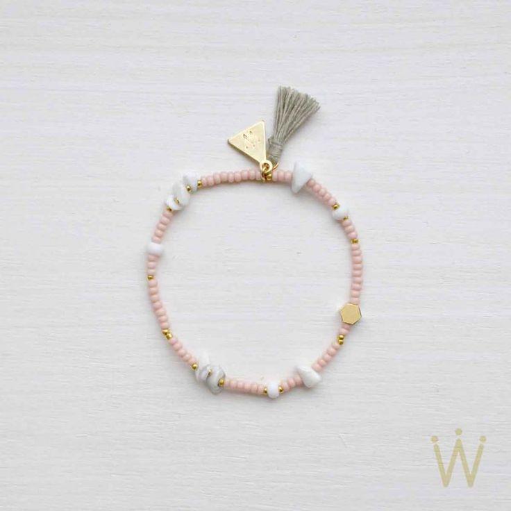 Perlen Armband aus Miyuki Perlen mit vielen Magnesit Splittern