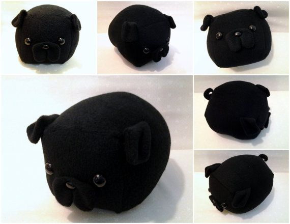 I have a fawn sushi pug pillow, but how adorable is this black pug one??