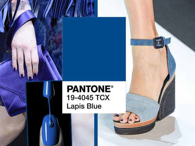 Pantone Lapis Blue 19-4045 TCX, il blu dei lapislazzuli. Da sinistra, Giorgio Armani e Leonard Paris.