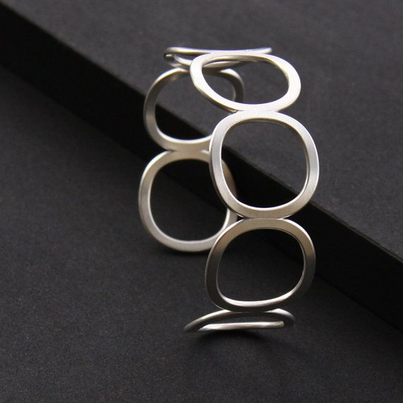 """Modern silver bracelet, handmade sterling cuff of 7 cushion shapes artisan formed and forged - """"Seven Stars Cuff"""""""