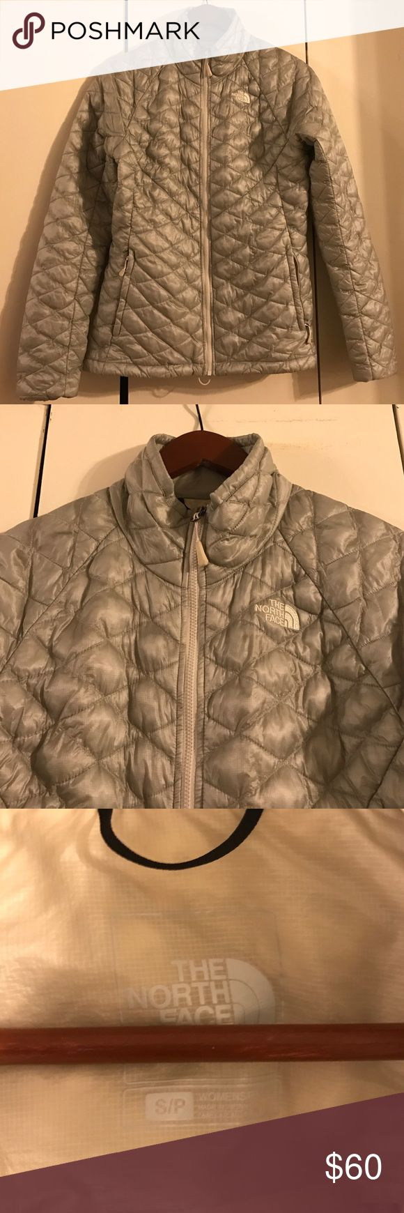 North Face Thermoball Jacket Size small grey North Face jacket. Is a lightweight puffy jacket. The North Face Jackets & Coats
