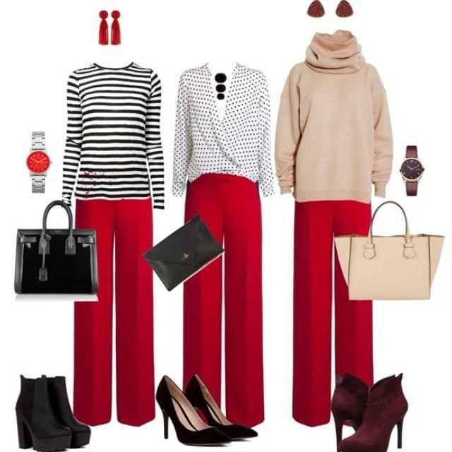 С чем носить яркие, красные брюки? С нейтральными цветами в цвет ваших волос, с черно-белыми топами и блузами. #красныебрюки #счемносить #чтоодеть #красный #красныйцвет #каксочетать