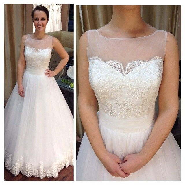 Our illusion neckline ballgown from designer Christina Rossi @Belinda Chan Fiore Bridal