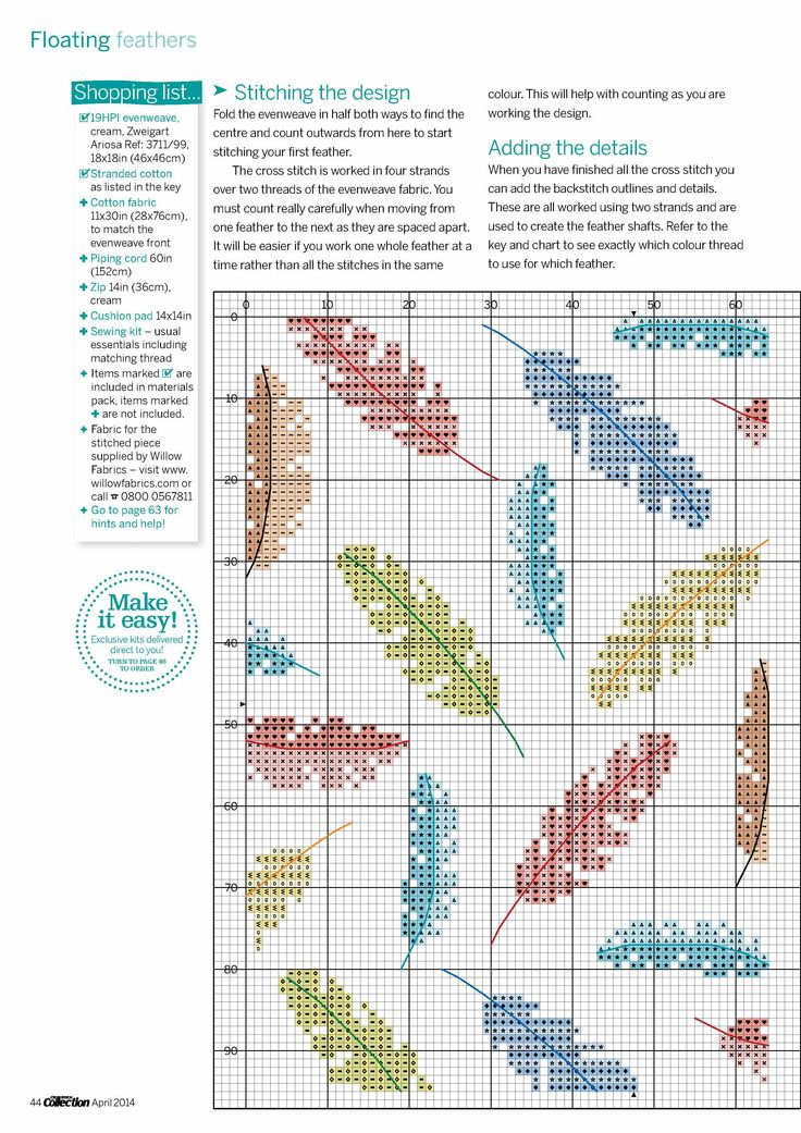 Cross-stitch Feathers, part 1.. color chart on part 2
