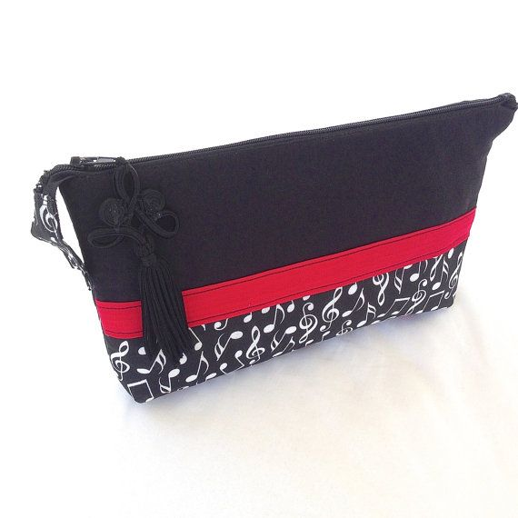 Cosmetic Bag Handmade Black Red White Music by ArabellaBlossoms