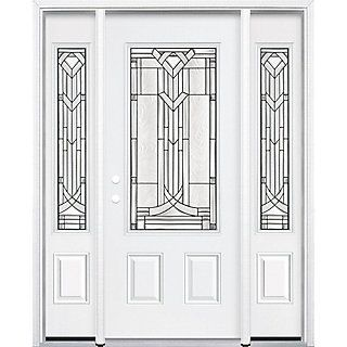 "Masonite HD steel offers superior strength combined with the elegance of decorative glass in the Chatham Three Quarter Rectangle Lite Steel Entry Door. The glass design enhances both the appearance and value of your home without compromising security or privacy. Durable high-definition panels offer excellent shadow lines for added architectural interest. The entry system features a maintenance-free 6-9/16"" white vinyl door frame along with 1-5/8"" white vinyl brickmould tha..."