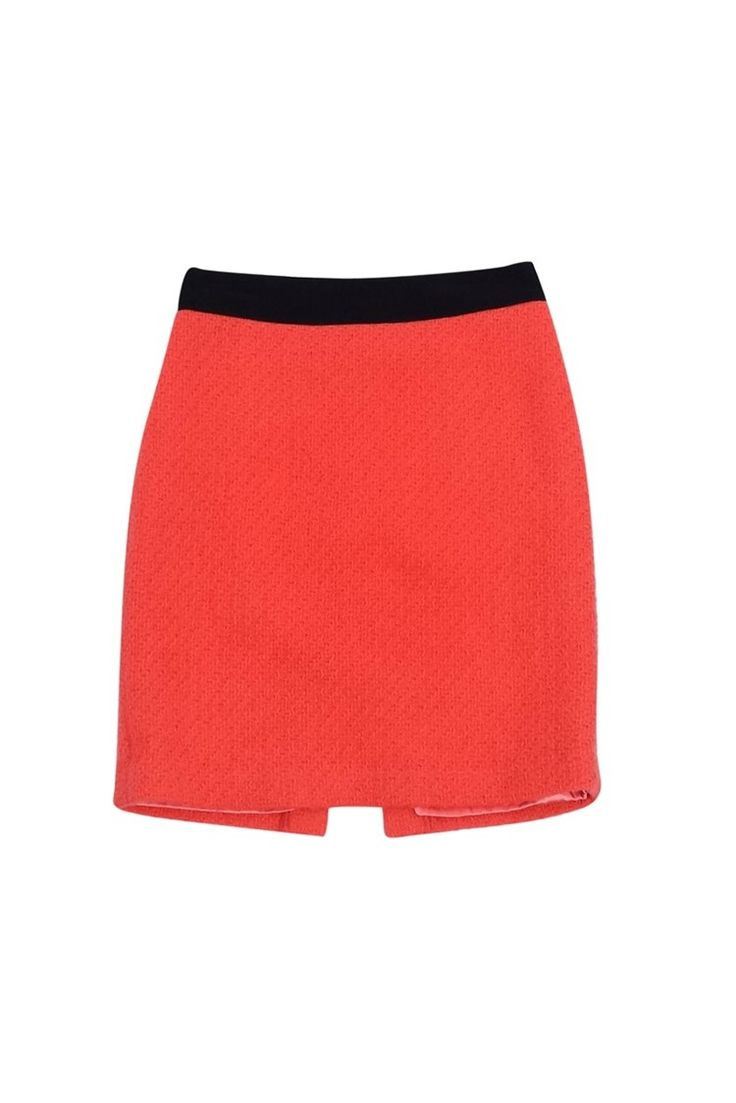 Milly- Coral Wool Pencil Skirt Sz 4   Current Boutique