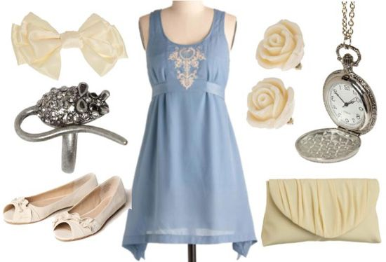 """""""Casual Cinderella ~ Cinderella meets the Prince while wearing an extravagant blue dress, but you don't need an invitation to a royal ball to be inspired by it.    The outfit below includes a more casual blue dress that is simple, although the intricate details and cream colored accessories make it feminine and elegant as well. The mouse ring gives a nod to Cinderella's loyal mouse friends, and the watch locket necklace is to make sure you remember when the clock strikes midnight."""""""
